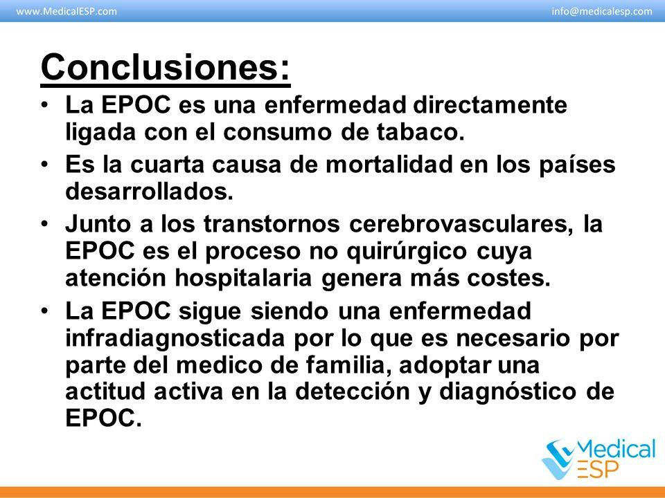 Conclusiones: La EPOC es una enfermedad directamente ligada con el consumo de tabaco. Es la cuarta causa de mortalidad en los países desarrollados. Ju