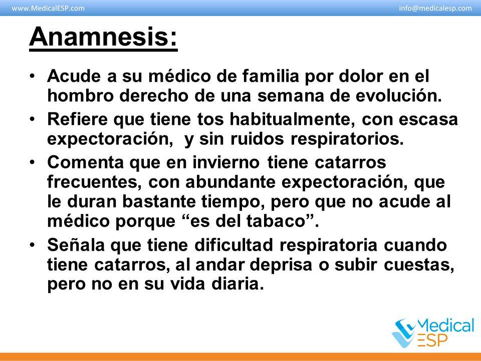 Anamnesis: Acude a su médico de familia por dolor en el hombro derecho de una semana de evolución. Refiere que tiene tos habitualmente, con escasa exp