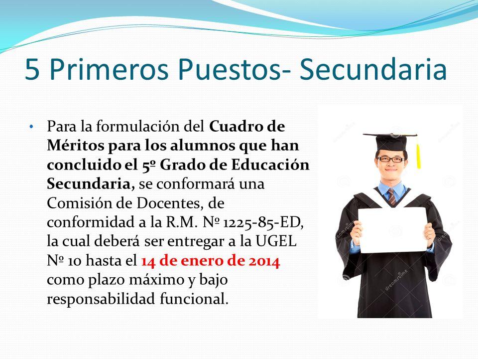 5 Primeros Puestos- Secundaria Para la formulación del Cuadro de Méritos para los alumnos que han concluido el 5º Grado de Educación Secundaria, se co