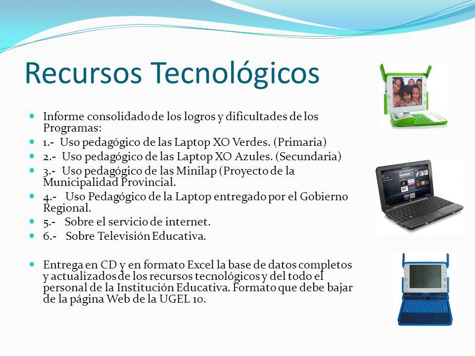 Recursos Tecnológicos Informe consolidado de los logros y dificultades de los Programas: 1.- Uso pedagógico de las Laptop XO Verdes. (Primaria) 2.- Us