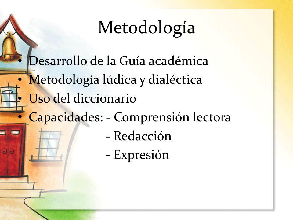 Metodología Desarrollo de la Guía académica Metodología lúdica y dialéctica Uso del diccionario Capacidades: - Comprensión lectora - Redacción - Expre