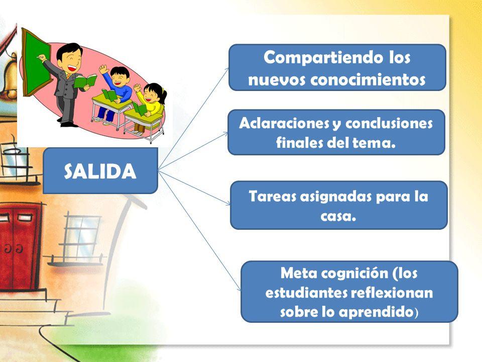 SALIDA Aclaraciones y conclusiones finales del tema. Compartiendo los nuevos conocimientos Tareas asignadas para la casa. Meta cognición (los estudian