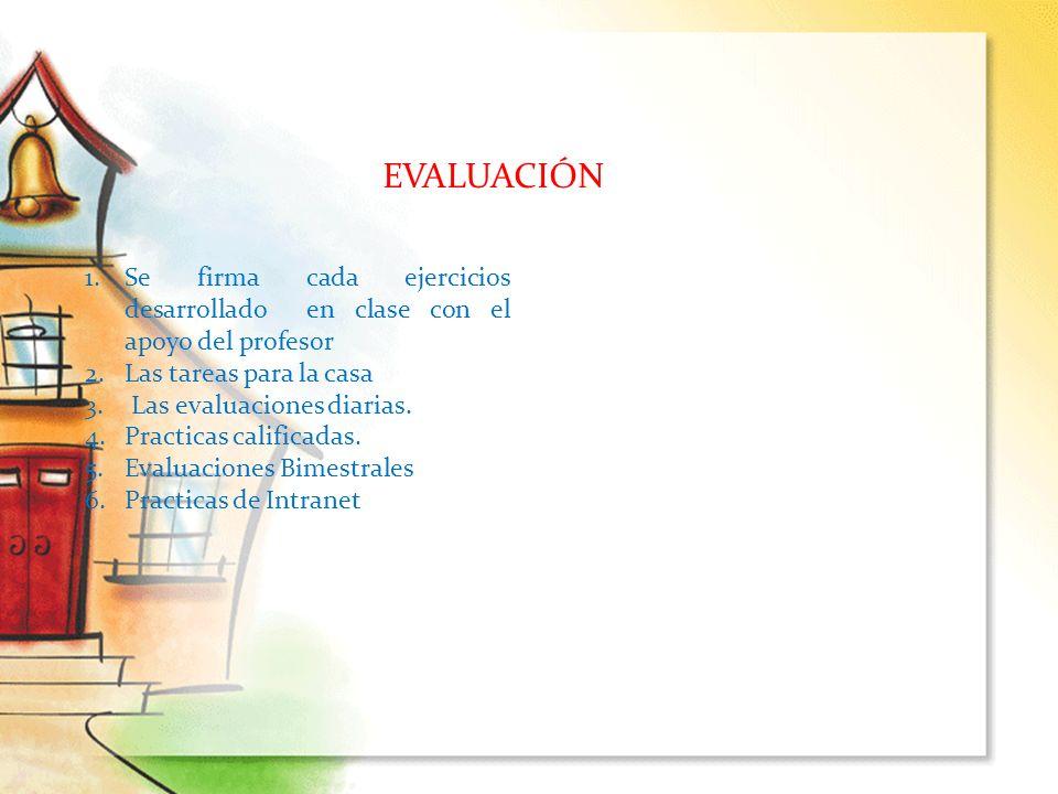 EVALUACIÓN 1.Se firma cada ejercicios desarrollado en clase con el apoyo del profesor 2.Las tareas para la casa 3. Las evaluaciones diarias. 4.Practic
