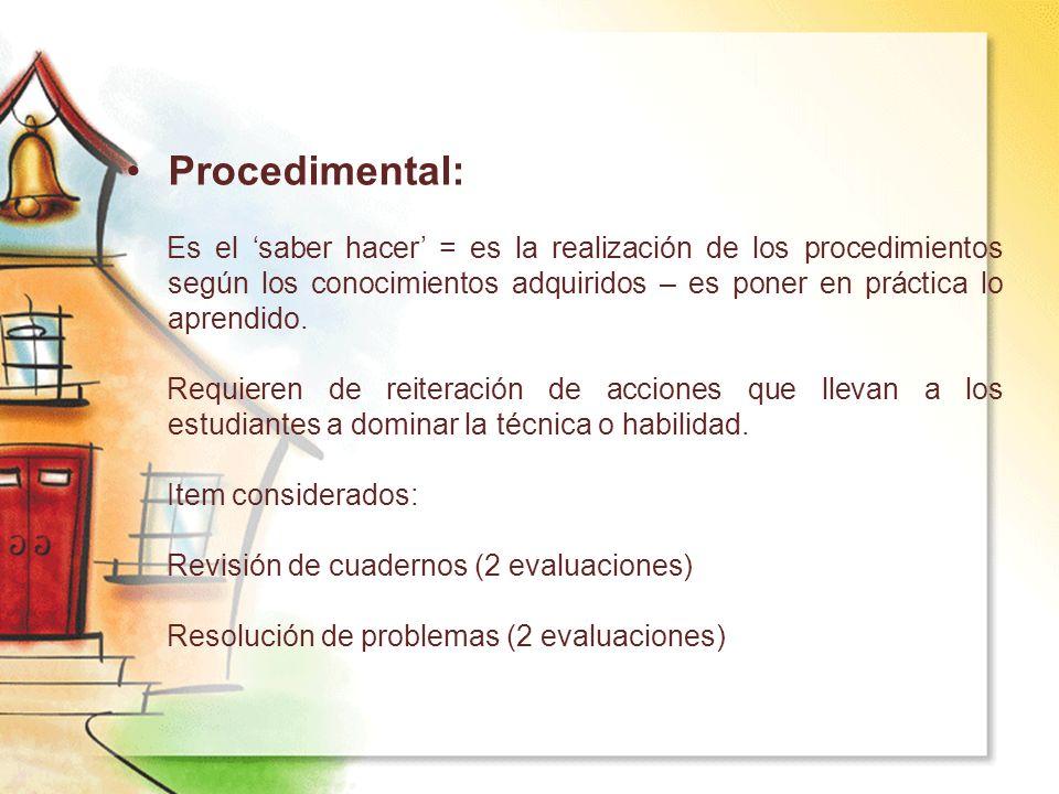 Procedimental: Es el saber hacer = es la realización de los procedimientos según los conocimientos adquiridos – es poner en práctica lo aprendido. Req