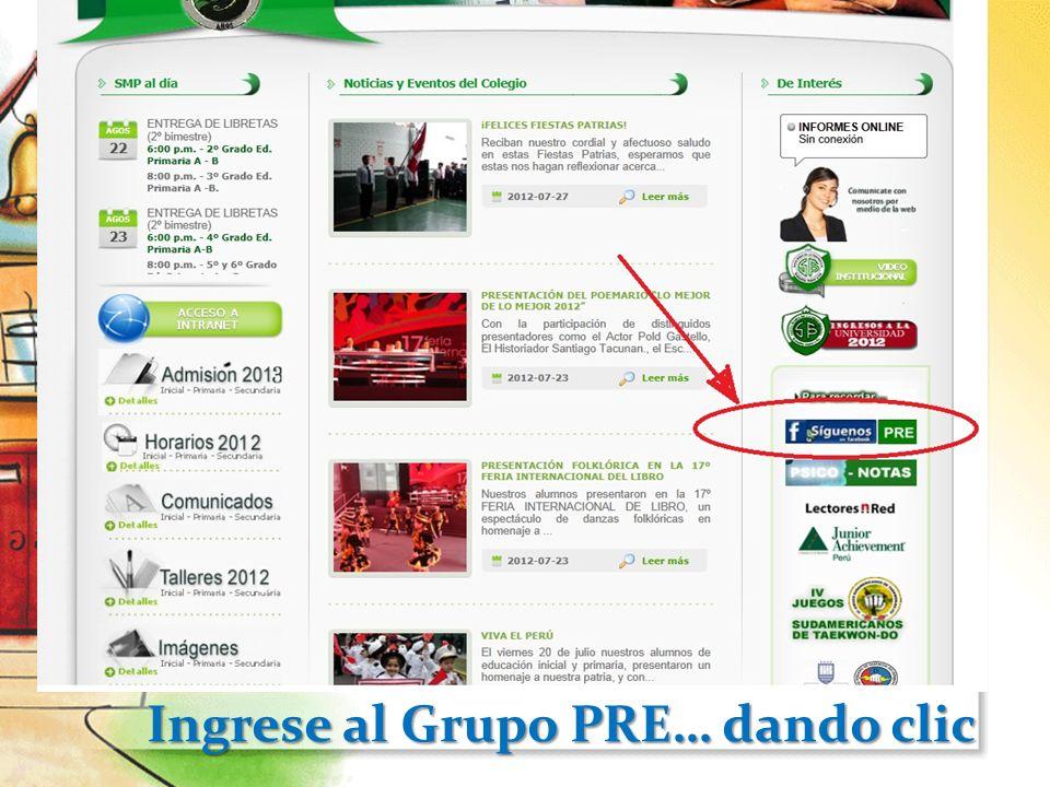 Ingrese al Grupo PRE… dando clic Ingrese al Grupo PRE… dando clic