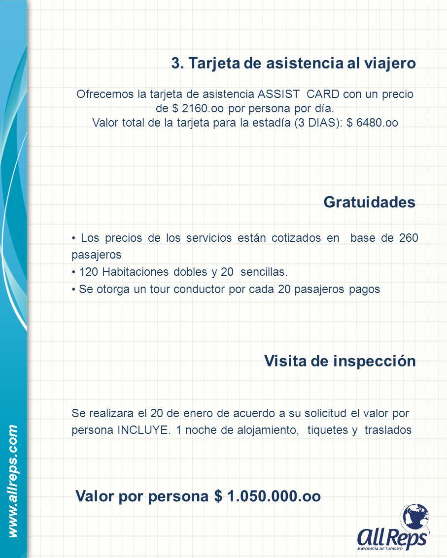 www.allreps.com Gratuidades Los precios de los servicios están cotizados en base de 260 pasajeros 120 Habitaciones dobles y 20 sencillas.