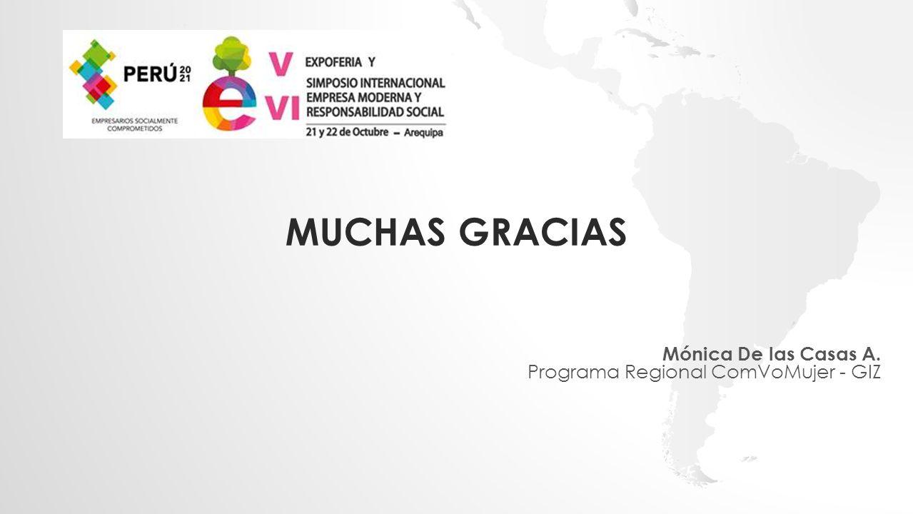 MUCHAS GRACIAS Mónica De las Casas A. Programa Regional ComVoMujer - GIZ