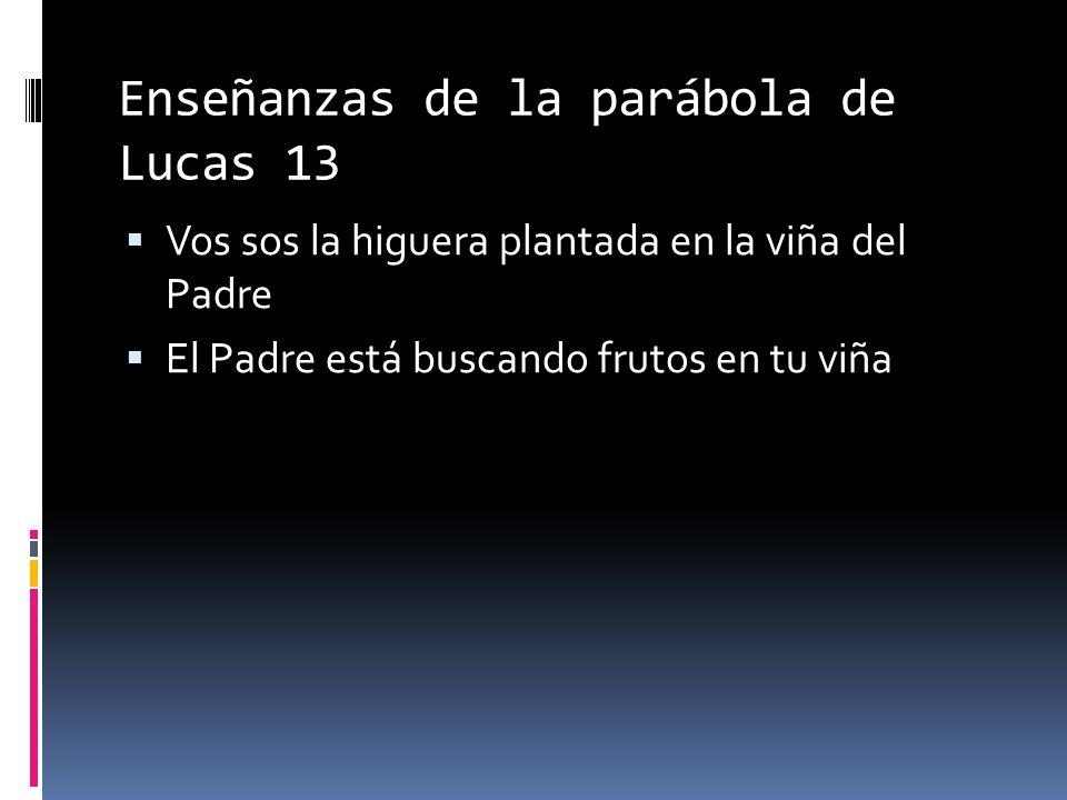 Enseñanzas de la parábola de Lucas 13 Vos sos la higuera plantada en la viña del Padre El Padre está buscando frutos en tu viña