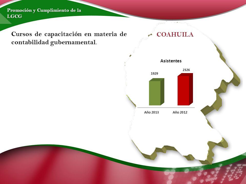 Cursos de capacitación en materia de contabilidad gubernamental.