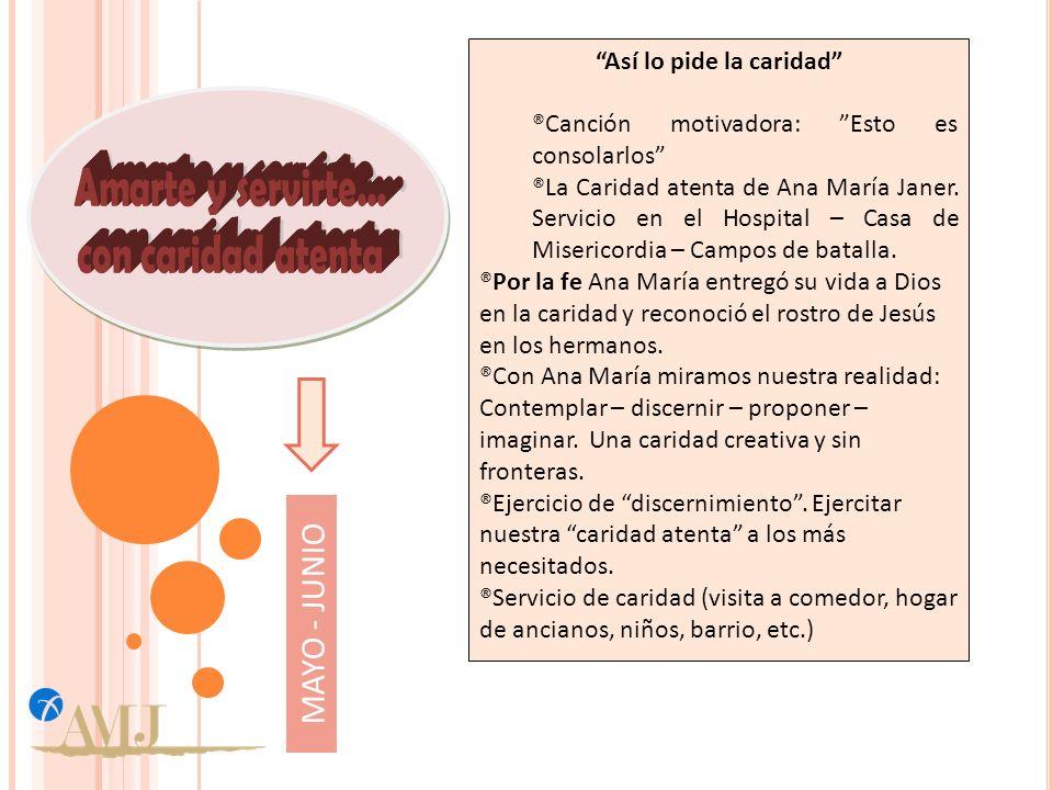 Así lo pide la caridad ®Canción motivadora: Esto es consolarlos ®La Caridad atenta de Ana María Janer.