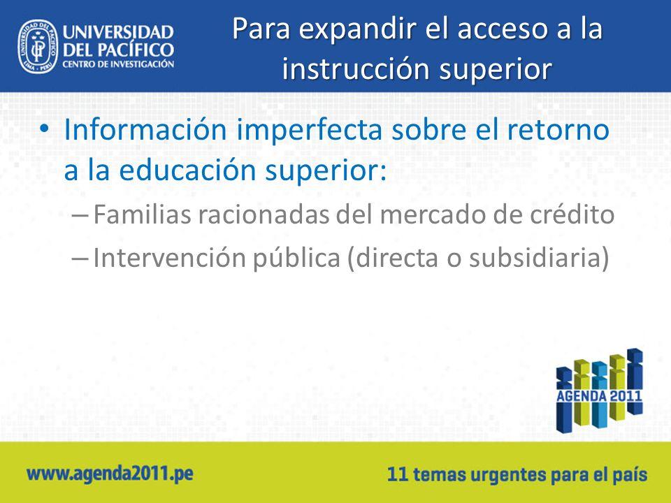 Para expandir el acceso a la instrucción superior Información imperfecta sobre el retorno a la educación superior: – Familias racionadas del mercado d