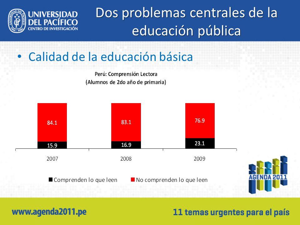 Dos problemas centrales de la educación pública Calidad de la educación básica