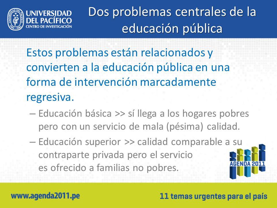 Dos problemas centrales de la educación pública Estos problemas están relacionados y convierten a la educación pública en una forma de intervención ma