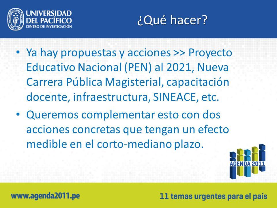 ¿Qué hacer? Ya hay propuestas y acciones >> Proyecto Educativo Nacional (PEN) al 2021, Nueva Carrera Pública Magisterial, capacitación docente, infrae