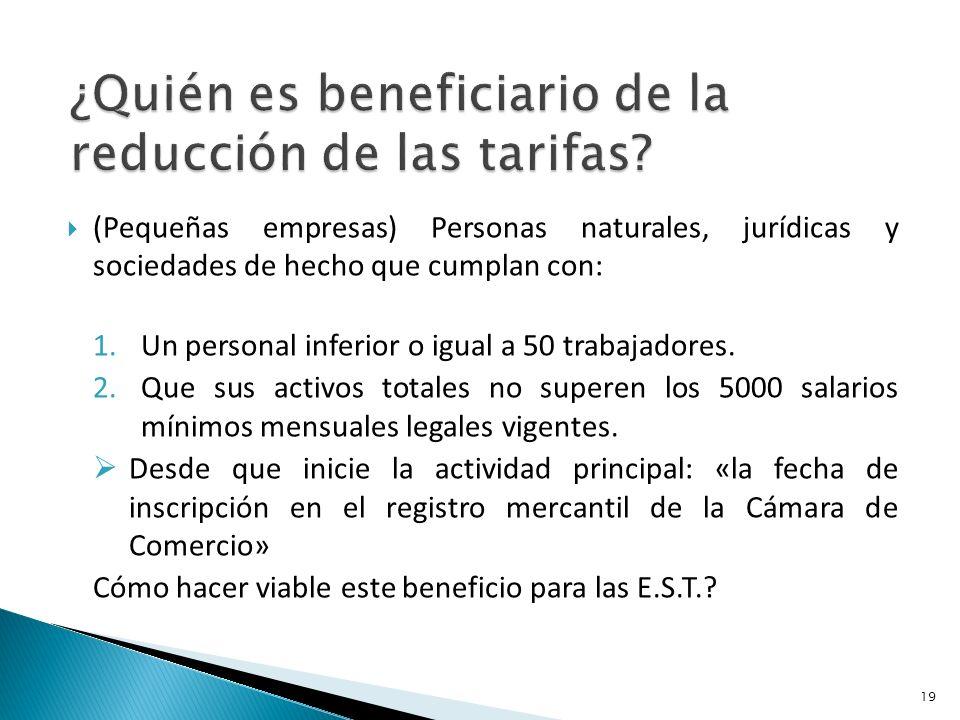(Pequeñas empresas) Personas naturales, jurídicas y sociedades de hecho que cumplan con: 1.Un personal inferior o igual a 50 trabajadores.