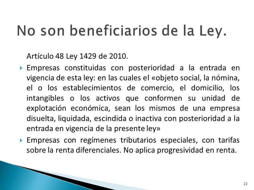Artículo 48 Ley 1429 de 2010.