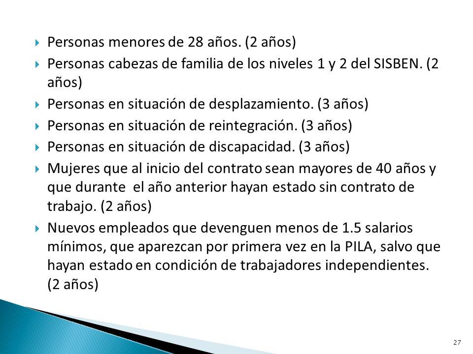 Personas menores de 28 años. (2 años) Personas cabezas de familia de los niveles 1 y 2 del SISBEN.