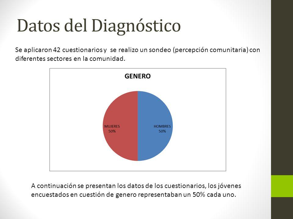 Datos del Diagnóstico A continuación se presentan los datos de los cuestionarios, los jóvenes encuestados en cuestión de genero representaban un 50% c