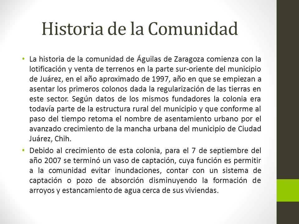 Historia de la Comunidad La historia de la comunidad de Águilas de Zaragoza comienza con la lotificación y venta de terrenos en la parte sur-oriente d