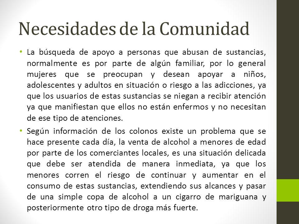 Necesidades de la Comunidad La búsqueda de apoyo a personas que abusan de sustancias, normalmente es por parte de algún familiar, por lo general mujer