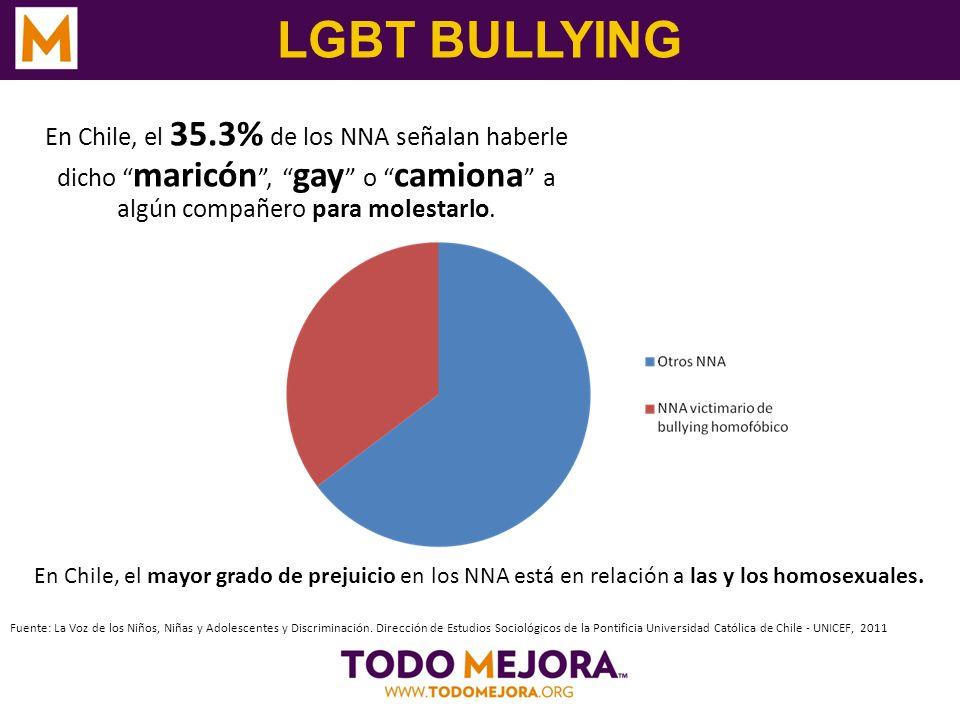 LGBT BULLYING En Chile, el 35.3% de los NNA señalan haberle dicho maricón, gay o camiona a algún compañero para molestarlo. Fuente: La Voz de los Niño