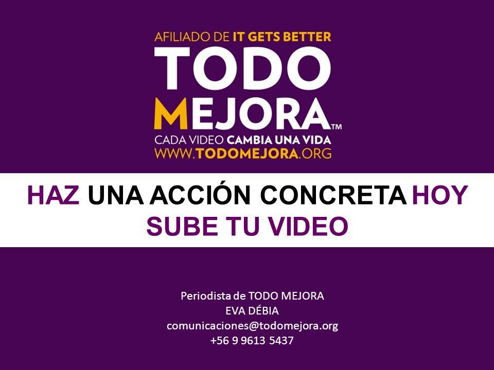 Periodista de TODO MEJORA EVA DÉBIA comunicaciones@todomejora.org +56 9 9613 5437 HAZ UNA ACCIÓN CONCRETA HOY SUBE TU VIDEO