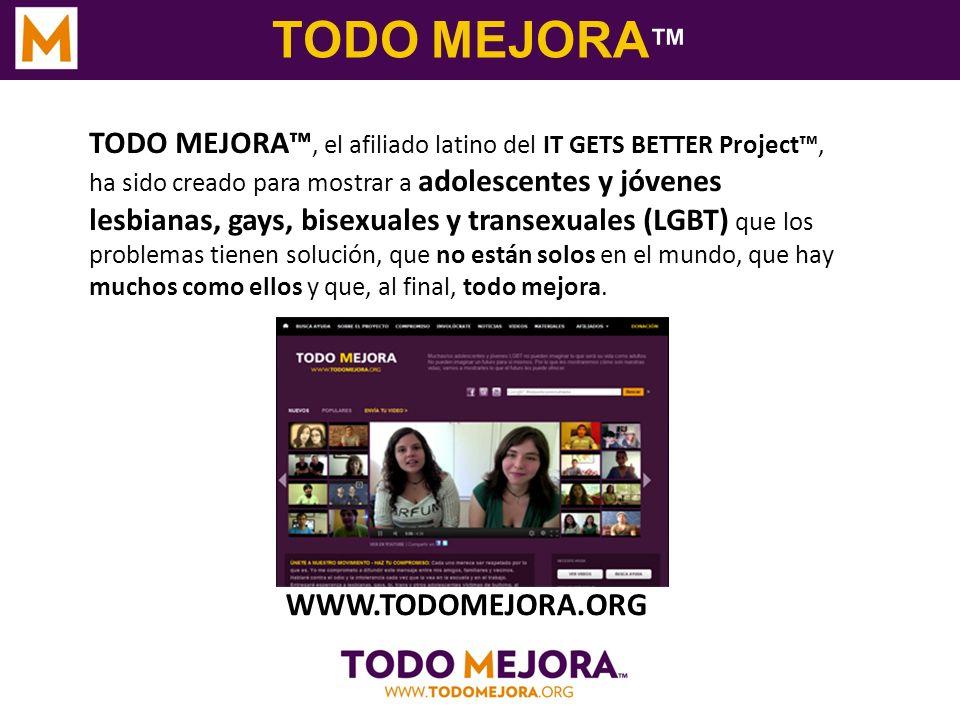 TODO MEJORA TODO MEJORA, el afiliado latino del IT GETS BETTER Project, ha sido creado para mostrar a adolescentes y jóvenes lesbianas, gays, bisexual