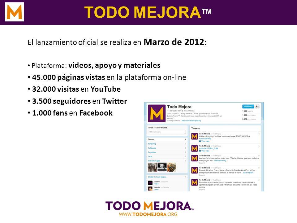 TODO MEJORA El lanzamiento oficial se realiza en Marzo de 2012 : Plataforma: videos, apoyo y materiales 45.000 páginas vistas en la plataforma on-line