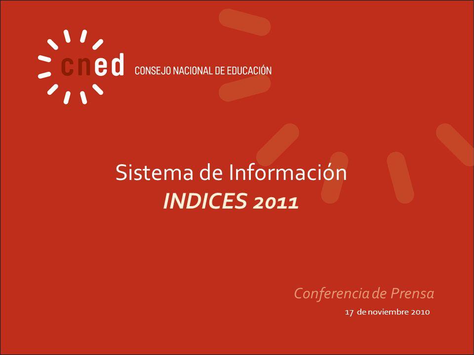 Sistema de Información INDICES 2011 17 de noviembre 2010 Conferencia de Prensa