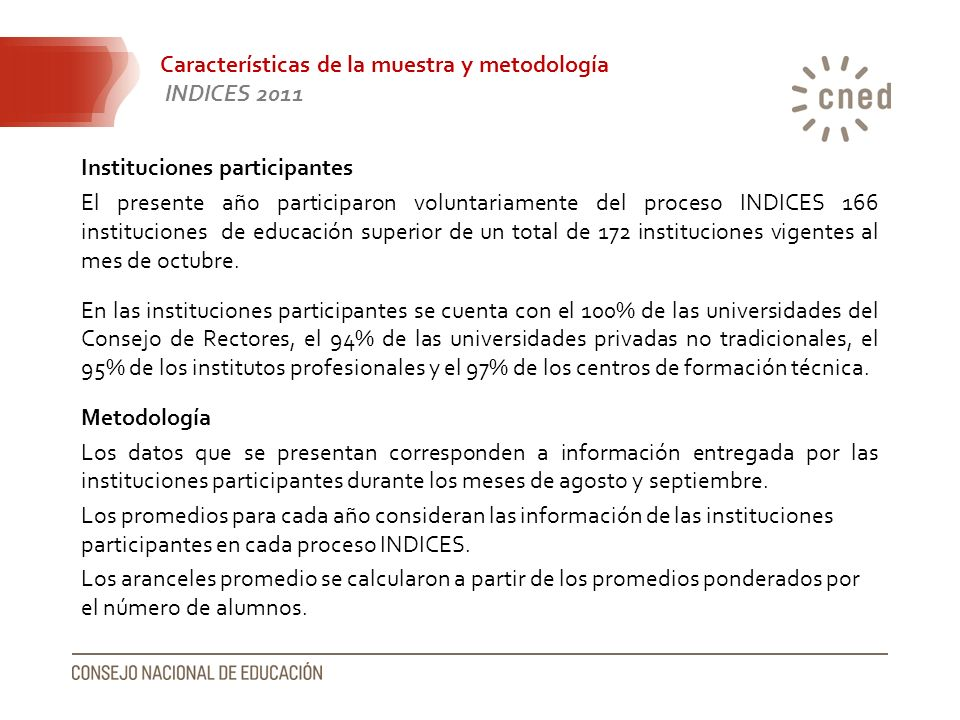 Características de la muestra y metodología INDICES 2011 Instituciones participantes El presente año participaron voluntariamente del proceso INDICES