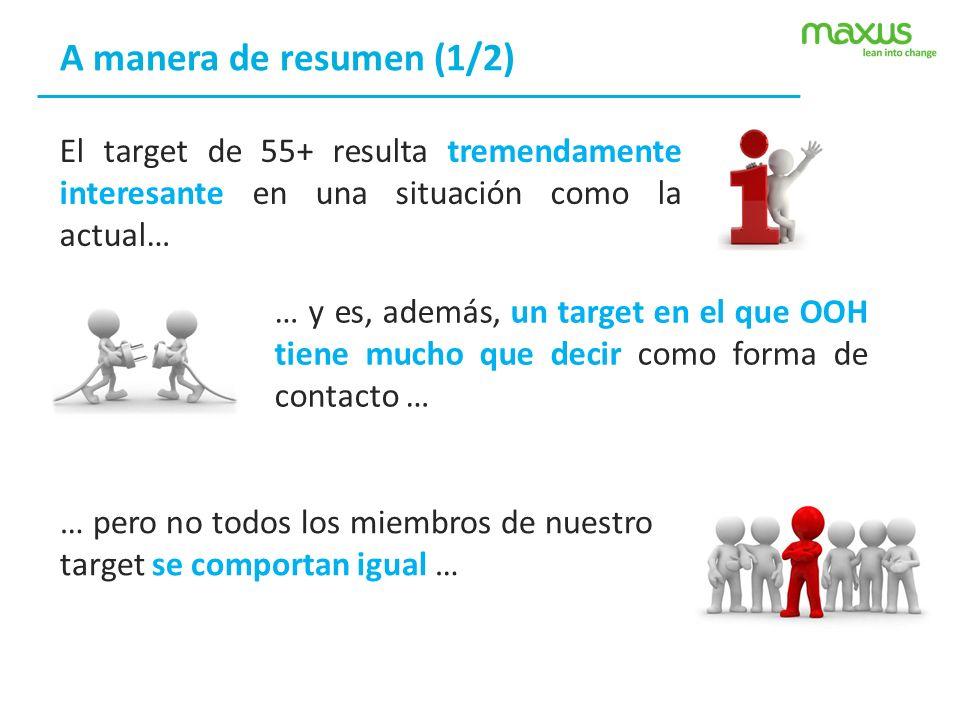 A manera de resumen (1/2) El target de 55+ resulta tremendamente interesante en una situación como la actual… … y es, además, un target en el que OOH