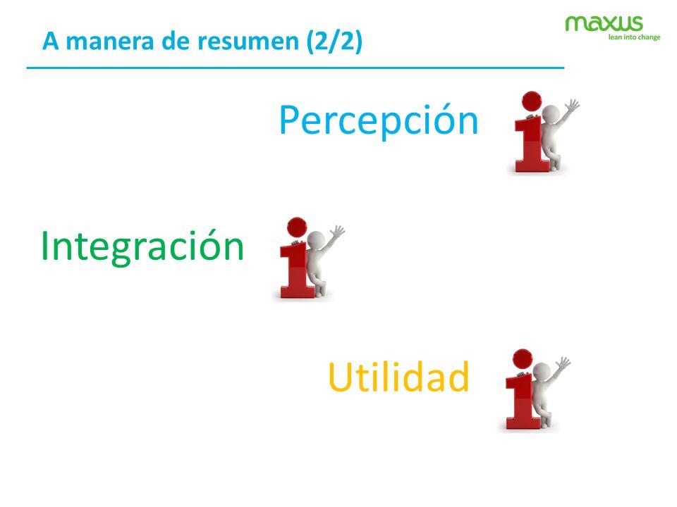 A manera de resumen (2/2) PercepciónIntegraciónUtilidad