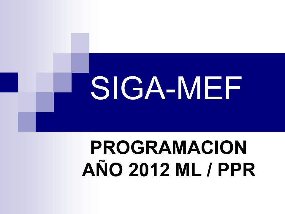 SIGA-MEF PROGRAMACION AÑO 2012 ML / PPR