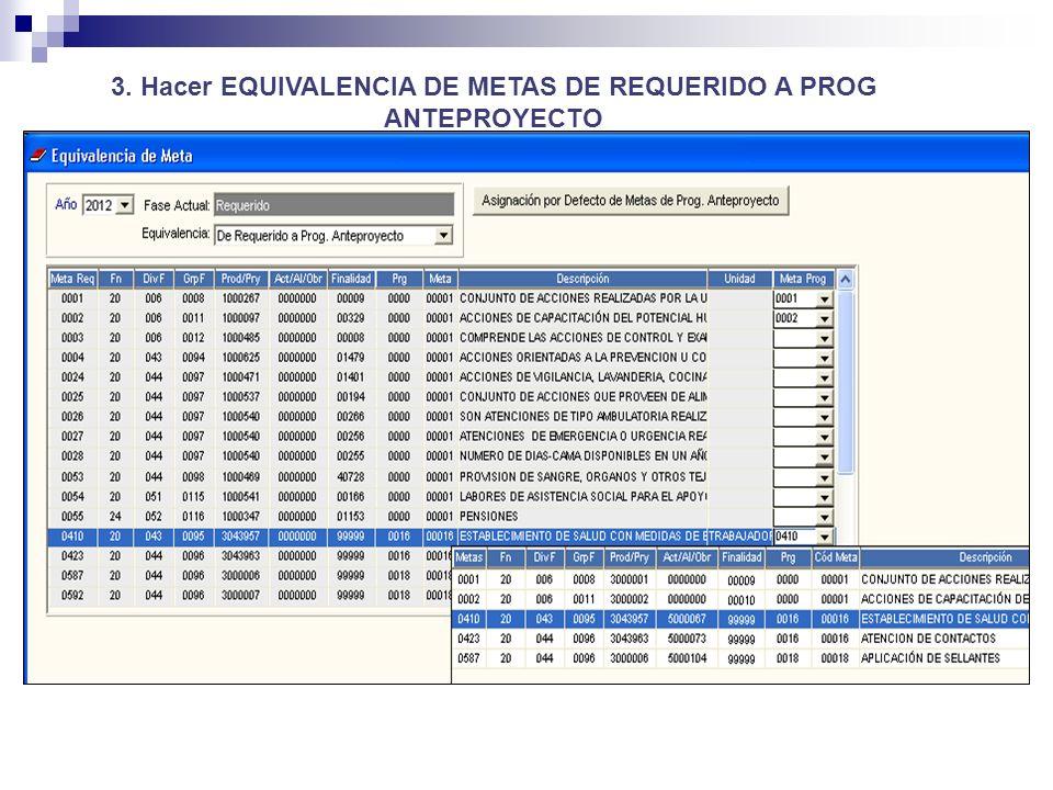 3. Hacer EQUIVALENCIA DE METAS DE REQUERIDO A PROG ANTEPROYECTO