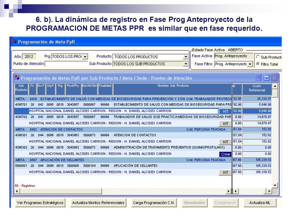 6. b). La dinámica de registro en Fase Prog Anteproyecto de la PROGRAMACION DE METAS PPR es similar que en fase requerido.