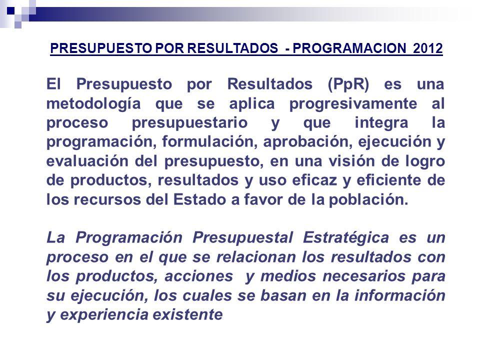 PRESUPUESTO POR RESULTADOS - PROGRAMACION 2012 El Presupuesto por Resultados (PpR) es una metodología que se aplica progresivamente al proceso presupu