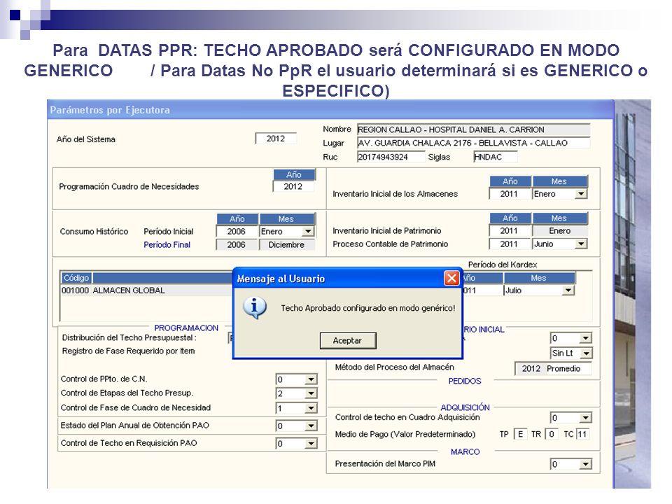 Para DATAS PPR: TECHO APROBADO será CONFIGURADO EN MODO GENERICO / Para Datas No PpR el usuario determinará si es GENERICO o ESPECIFICO)