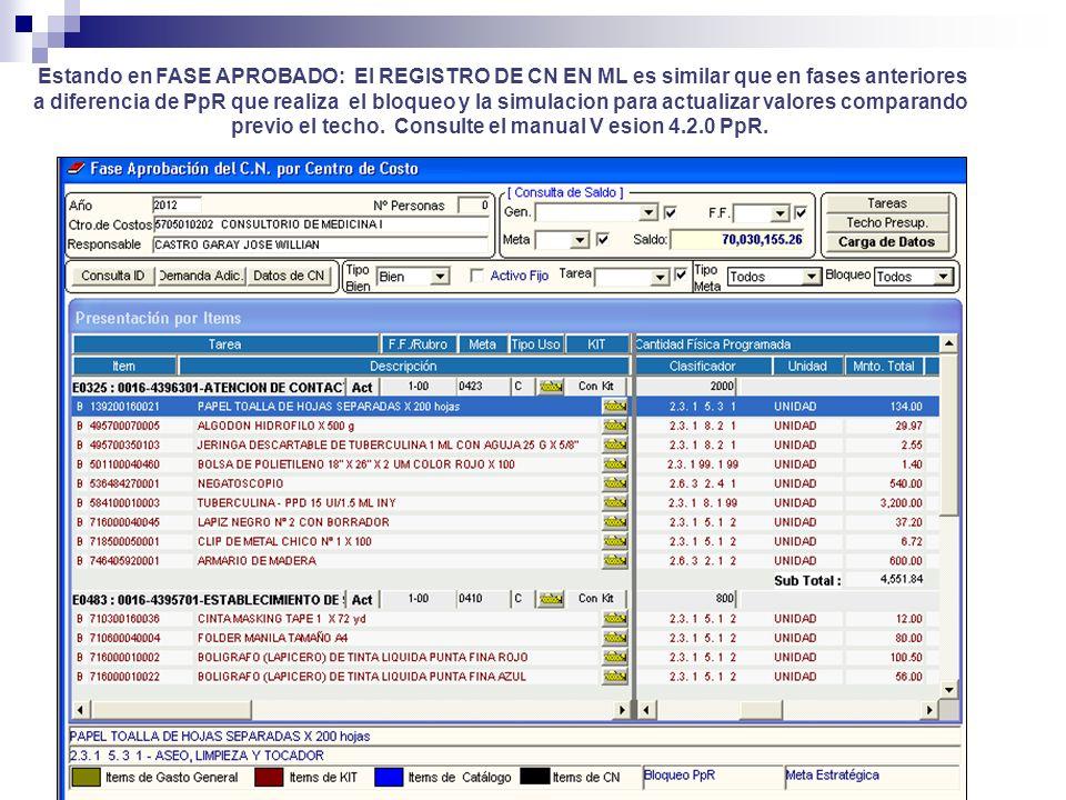 Estando en FASE APROBADO: El REGISTRO DE CN EN ML es similar que en fases anteriores a diferencia de PpR que realiza el bloqueo y la simulacion para a