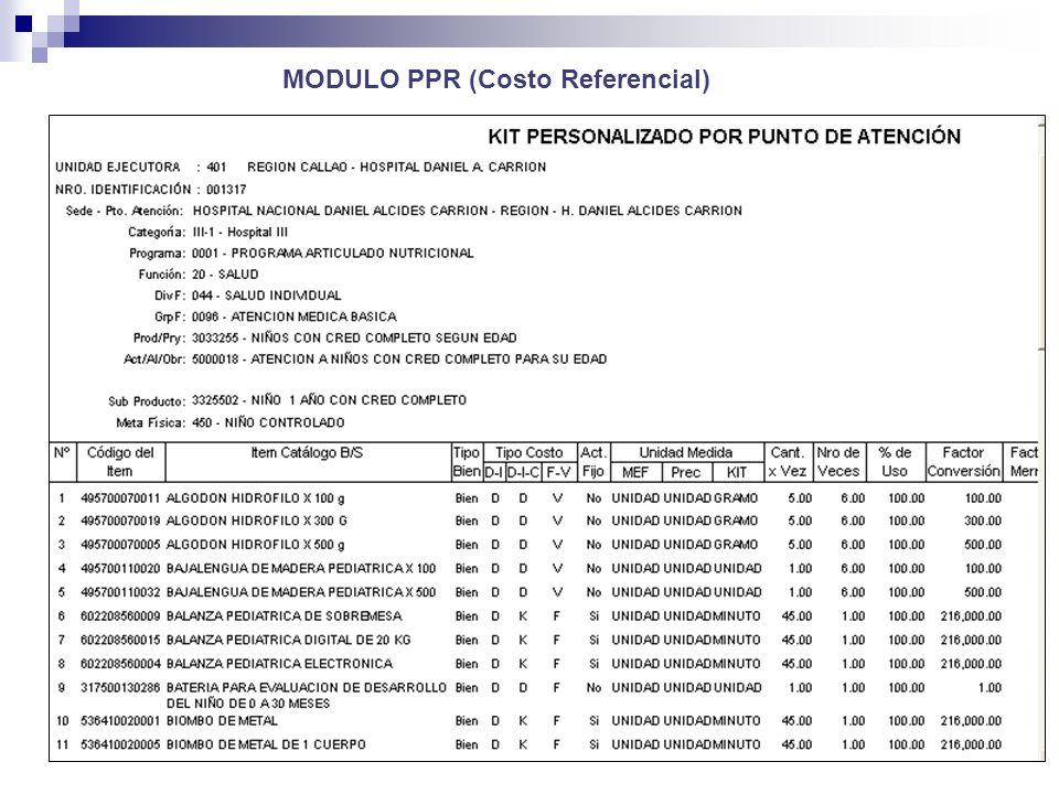 MODULO PPR (Costo Referencial) )