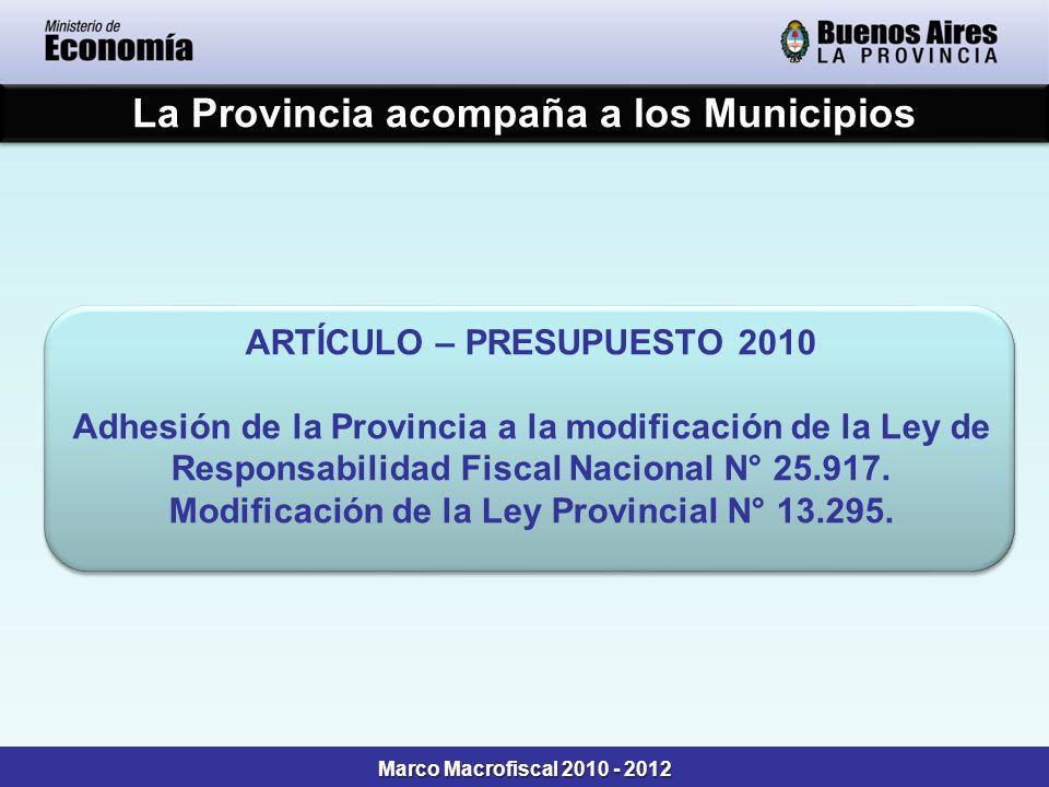 La Provincia acompaña a los Municipios ARTÍCULO – PRESUPUESTO 2010 Adhesión de la Provincia a la modificación de la Ley de Responsabilidad Fiscal Naci