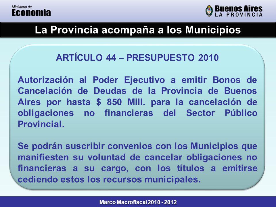 La Provincia acompaña a los Municipios ARTÍCULO 44 – PRESUPUESTO 2010 Autorización al Poder Ejecutivo a emitir Bonos de Cancelación de Deudas de la Pr