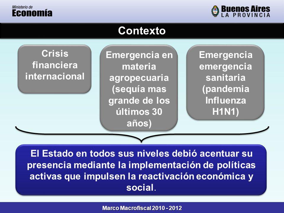 Contexto Marco Macrofiscal 2010 - 2012 Crisis financiera internacional Crisis financiera internacional Emergencia en materia agropecuaria (sequía mas