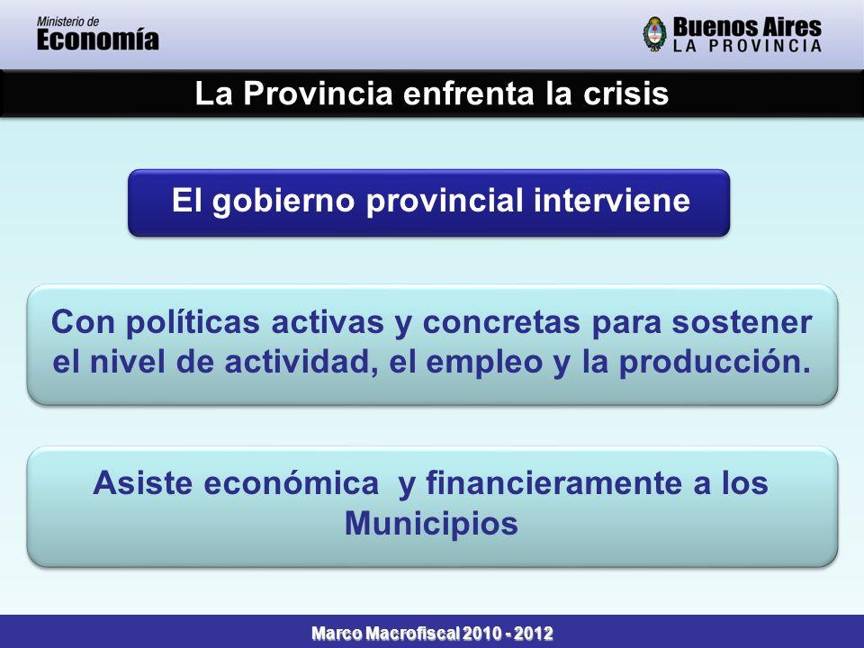 La Provincia enfrenta la crisis Marco Macrofiscal 2010 - 2012 El gobierno provincial interviene Con políticas activas y concretas para sostener el nivel de actividad, el empleo y la producción.