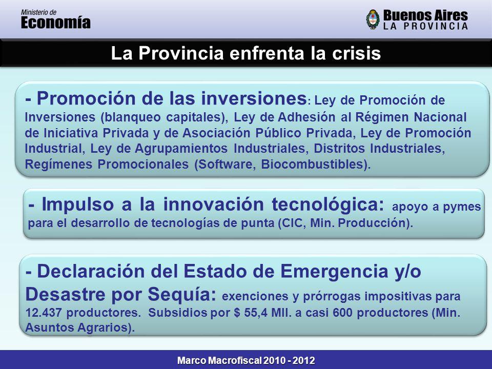 Marco Macrofiscal 2010 - 2012 La Provincia enfrenta la crisis - Impulso a la innovación tecnológica: apoyo a pymes para el desarrollo de tecnologías d