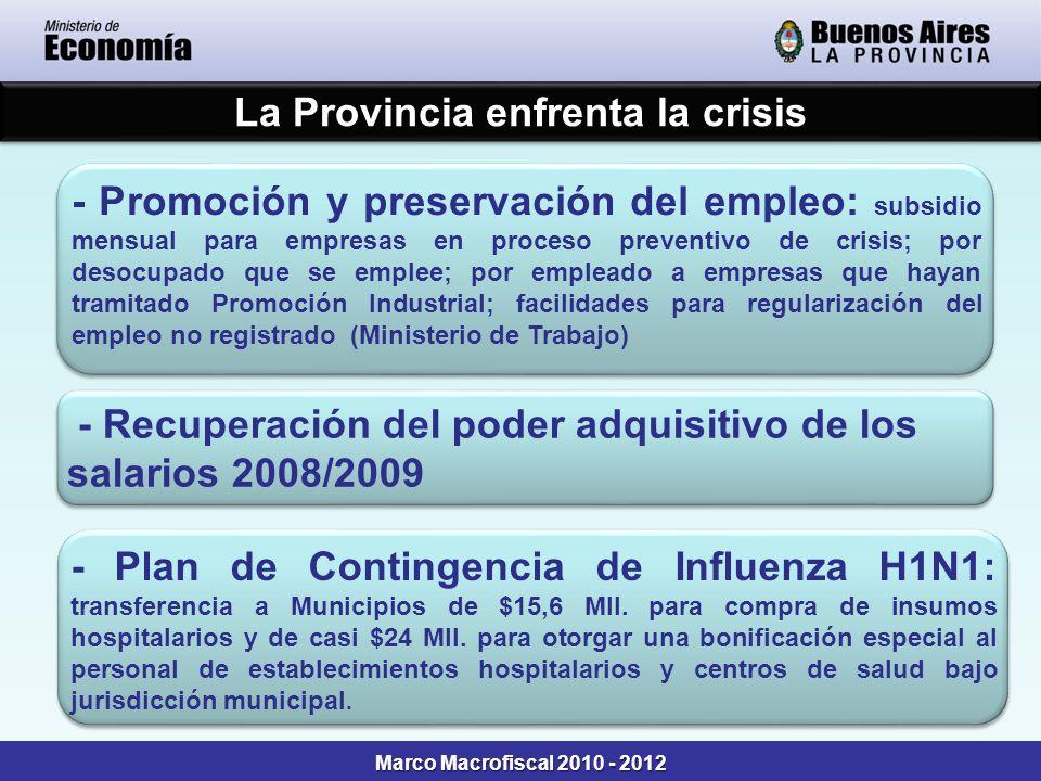 Marco Macrofiscal 2010 - 2012 - Promoción y preservación del empleo: subsidio mensual para empresas en proceso preventivo de crisis; por desocupado qu