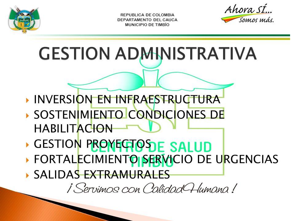 REPUBLICA DE COLOMBIA DEPARTAMENTO DEL CAUCA MUNICIPIO DE TIMBÍO GESTION ADMINISTRATIVA INVERSION EN INFRAESTRUCTURA SOSTENIMIENTO CONDICIONES DE HABI