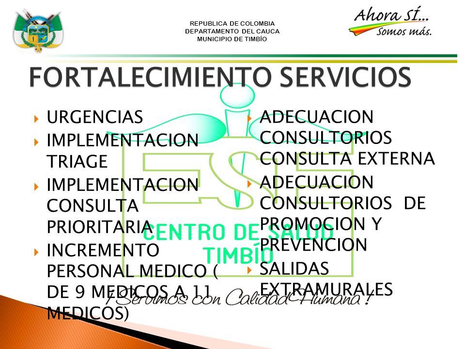 REPUBLICA DE COLOMBIA DEPARTAMENTO DEL CAUCA MUNICIPIO DE TIMBÍO FORTALECIMIENTO SERVICIOS URGENCIAS IMPLEMENTACION TRIAGE IMPLEMENTACION CONSULTA PRI