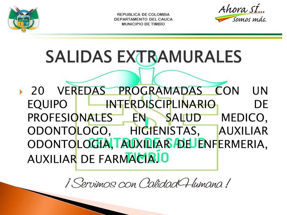 REPUBLICA DE COLOMBIA DEPARTAMENTO DEL CAUCA MUNICIPIO DE TIMBÍO SALIDAS EXTRAMURALES 20 VEREDAS PROGRAMADAS CON UN EQUIPO INTERDISCIPLINARIO DE PROFE