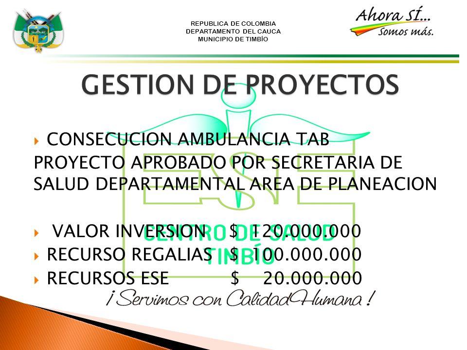 REPUBLICA DE COLOMBIA DEPARTAMENTO DEL CAUCA MUNICIPIO DE TIMBÍO GESTION DE PROYECTOS CONSECUCION AMBULANCIA TAB PROYECTO APROBADO POR SECRETARIA DE S