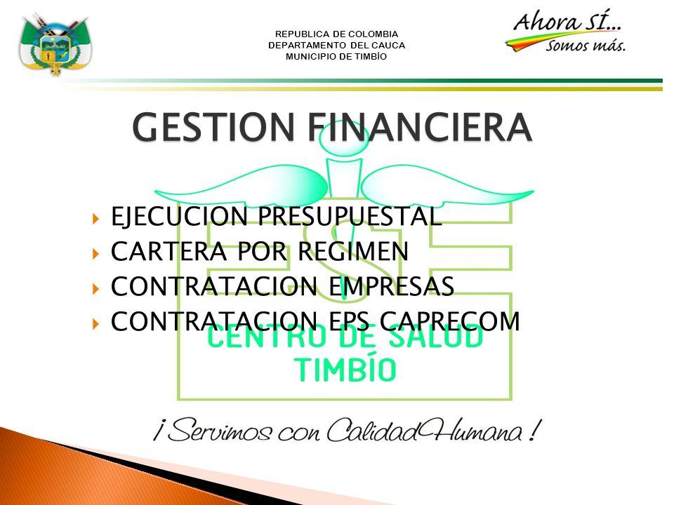 REPUBLICA DE COLOMBIA DEPARTAMENTO DEL CAUCA MUNICIPIO DE TIMBÍO GESTION FINANCIERA EJECUCION PRESUPUESTAL CARTERA POR REGIMEN CONTRATACION EMPRESAS C